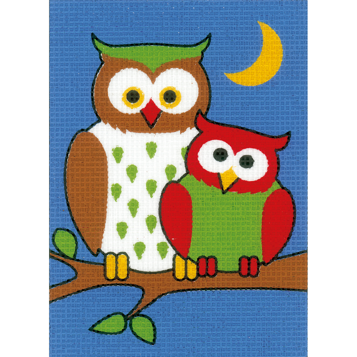 "Vervaco Plastic Canvas Kit 5.25""X7.25""-Night Owls"