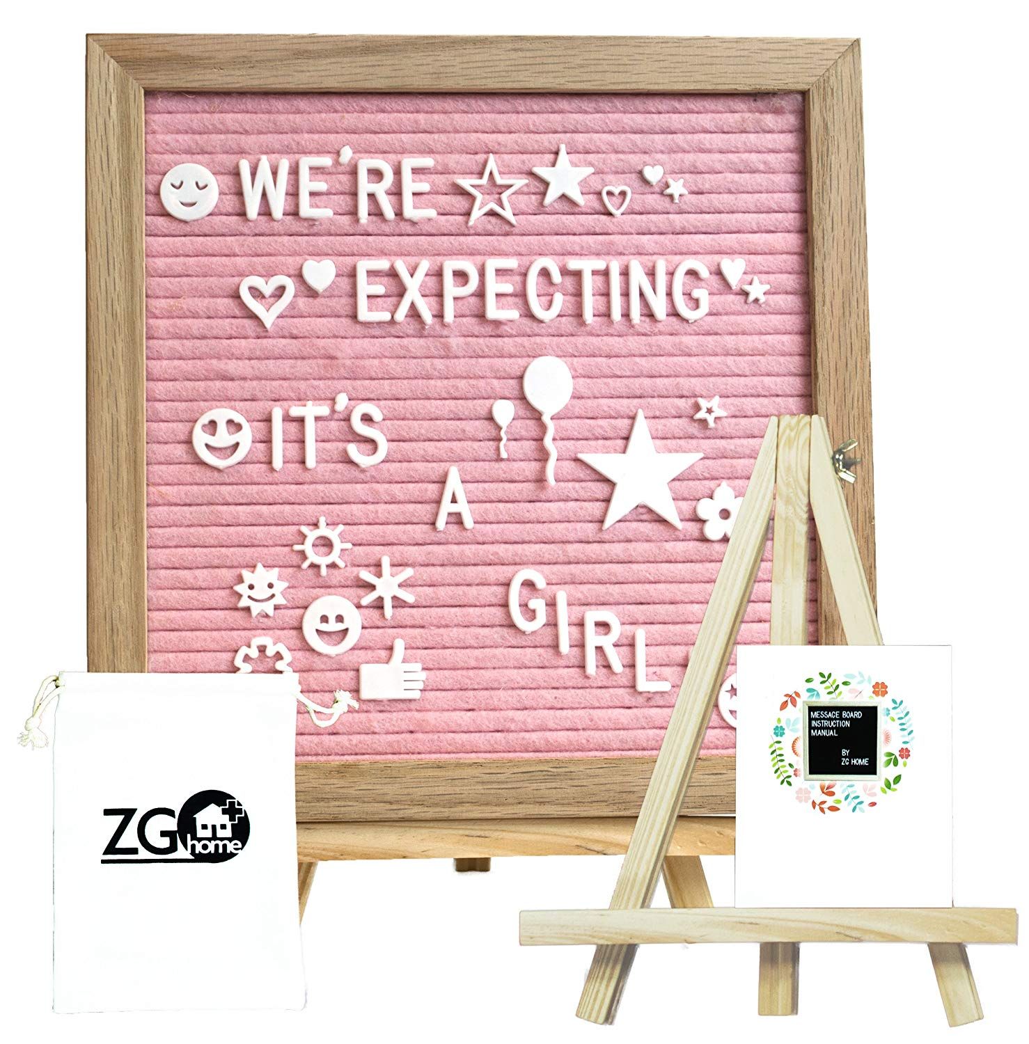Pink Felt Letter Board with 678 Letters, Numbers, Emojis and Symbols,10X10 Inches Changeable Oak Frame Message Board with Mount Hanger, Stand and Canvas Bags by ZG-Home( ZG1010P)