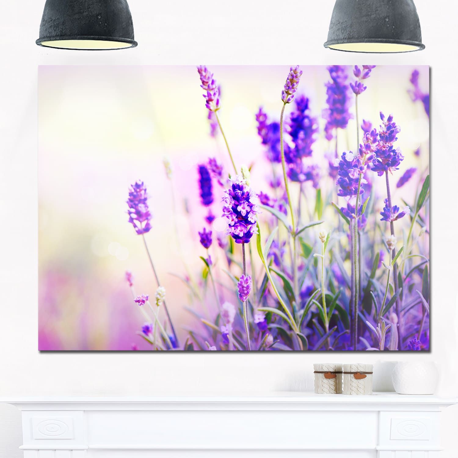 DESIGN ART Purple Lavender Field - Floral Photography Glossy Metal Wall Art