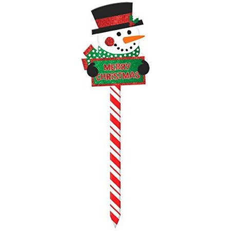 amscan winter friends christmas party snowman yard sign decoration, multicolor, 6