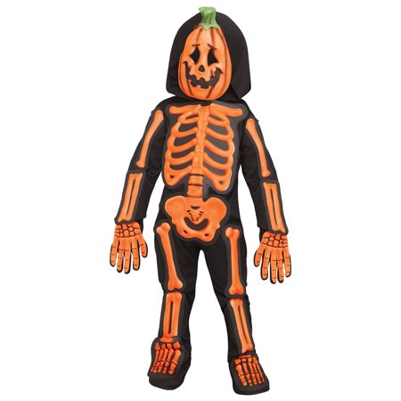Skele Jack Boys Toddler Orange Black Skeleton Pumpkin Costume - Skeleton Boy Costume