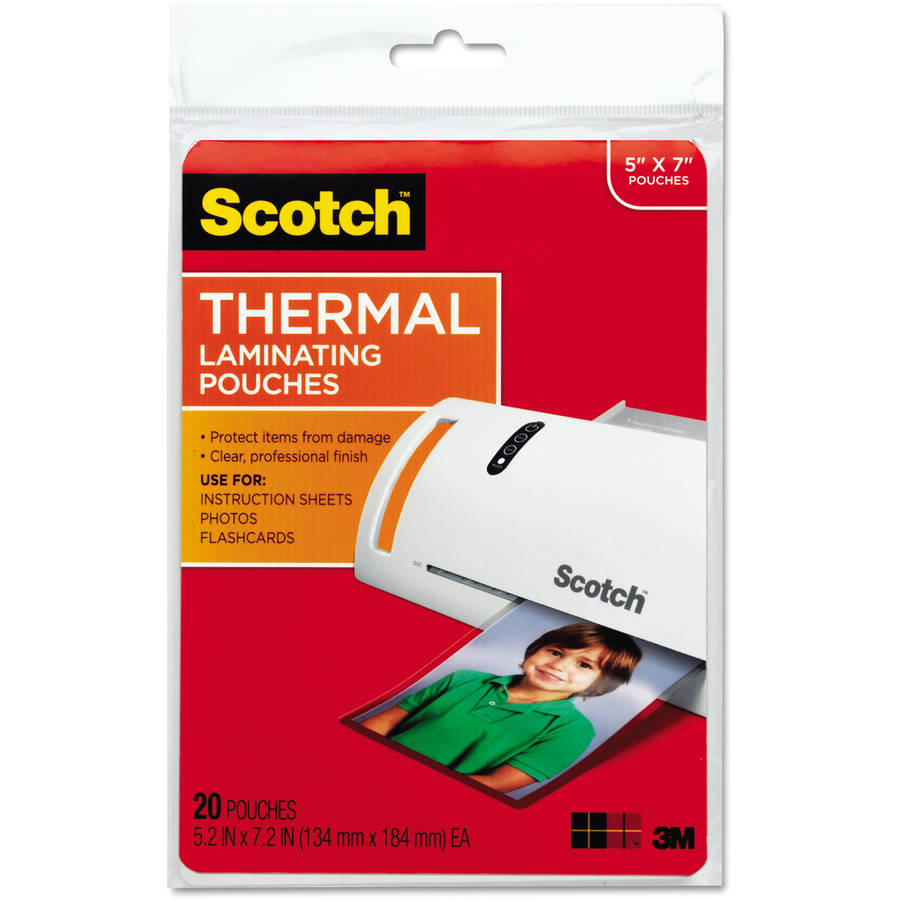 "Scotch Photo-Size Thermal Laminating Pouches, 5mm, 7.25"" x 5-3/8"", 20-Pack"