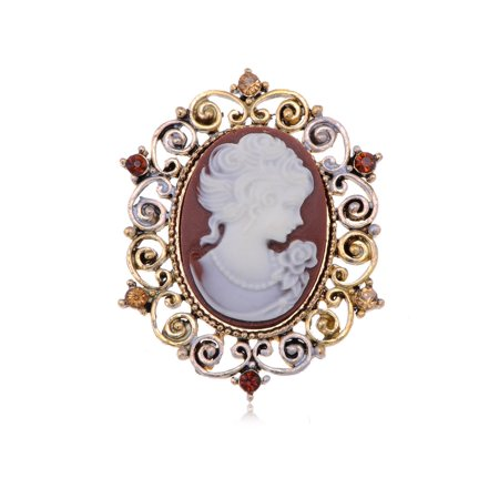 Antique Light Dark Topaz Colored Rhinestones Vintage Inspired Cameo Woman Brooch Pin