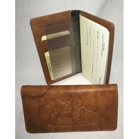Deer Whitetail Buck Embossed Brown/Tan Leather Checkbook Cover with Gift Tin