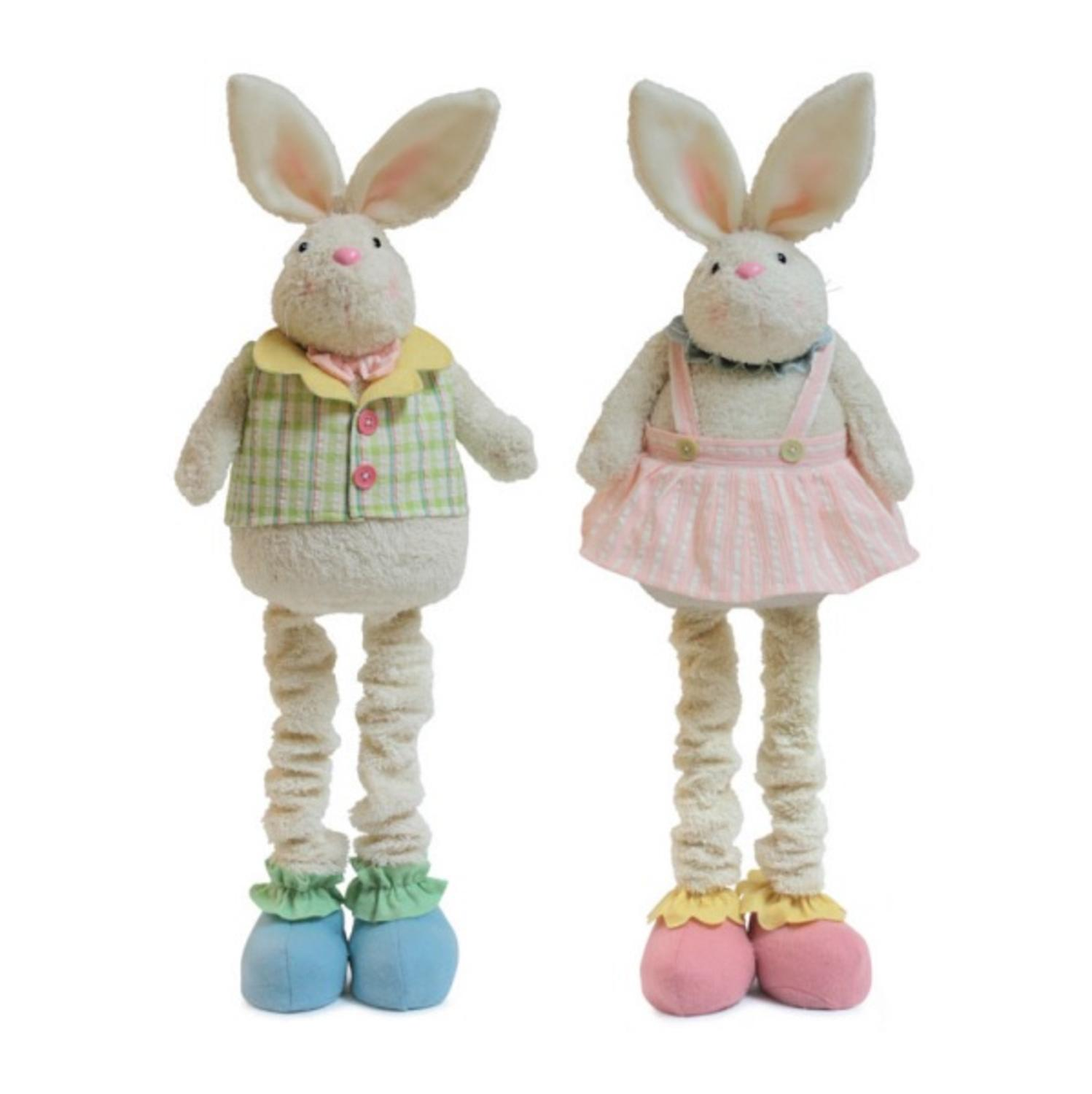 Pack of 4 Pastel Standing Bunny Couple Easter Decorations 36""