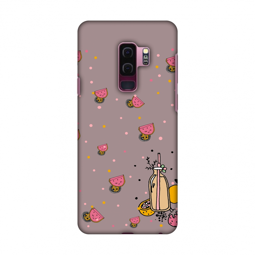 Samsung Galaxy S9 Plus Case - Fruity shake- Plum, Hard Plastic Back Cover, Slim Profile Cute Printed Designer Snap on Case with Screen Cleaning Kit