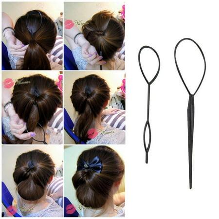 4 sets Ponytail Creator Plastic Loop Styling Tools Black Topsy Pony Tail Hair