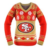 San Francisco 49ers NFL Women s Big Logo V-Neck Ugly Christmas Sweater Small a03ff0a69