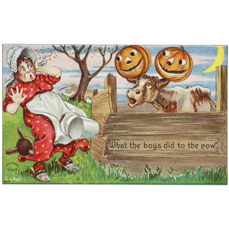 Vintage halloween greeting card with cow with jack-o-lanterns on horns from 20th century PosterPrint
