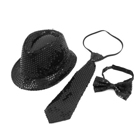 Unique Bargains Men Women Fancy Dress Costume Dancing Shiny Sequins Decor Jazz Hat Set Black - Unique Costumes Men