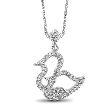 Sterling Silver White Diamond Accent Motherly Duck Pendant (Ducks Logo Pendant)