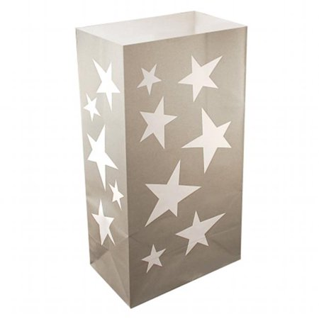 Silver Stars Luminaria Bags - 24 Count