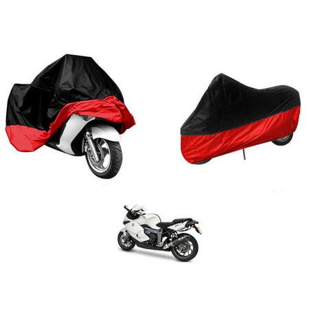 XXL Waterproof Motorcycle Storage Cover UV Protector Rain Dust Proof Outdoor Motorbike All-Weather Protection Black&Red - Motorcycle Storage Cover