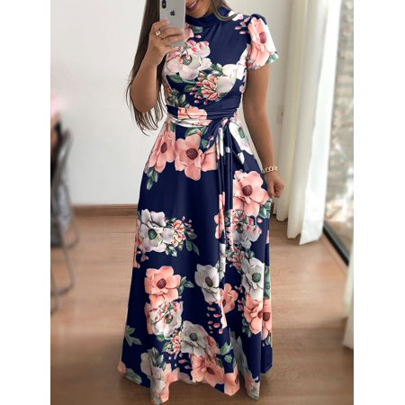Fashion Women turtleneck maxi dress Summer floral print long Beach dresses Ladies Tunic back zipper short sleeve dress Asian size