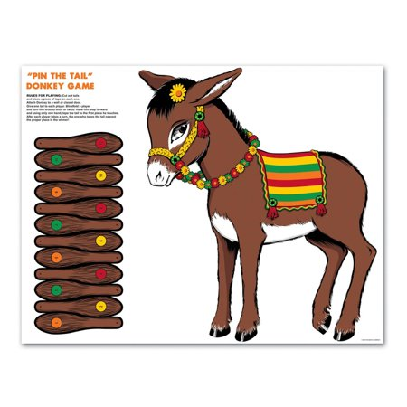Club Pack of 24 Traditional Pin the Tail on the Donkey Party Game