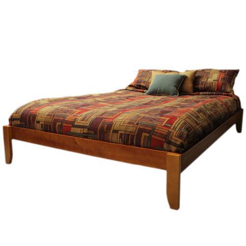Scandinavia Queen-size Solid Bamboo Wood Platform Bed Black Frame Finish