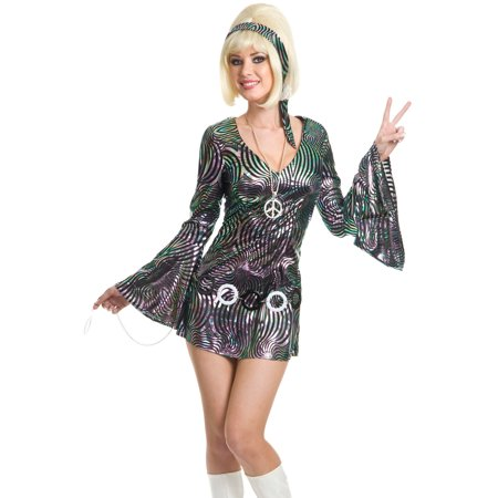 Womens  Metallic Silver Disco Diva Funky Go Go Girl Costume