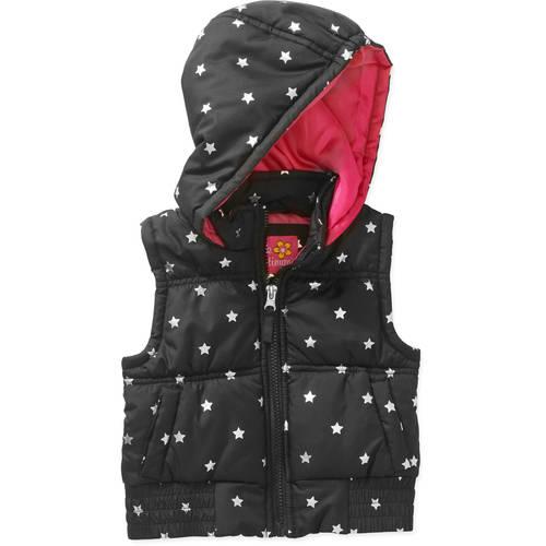 Pink Platinum Toddler Girl Hooded Foil Star Print Puffer Vest