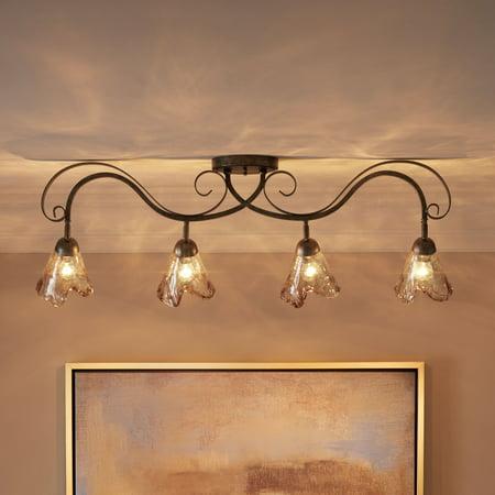 Pro Track Organic Amber Glass 4-Light Ceiling Track Fixture