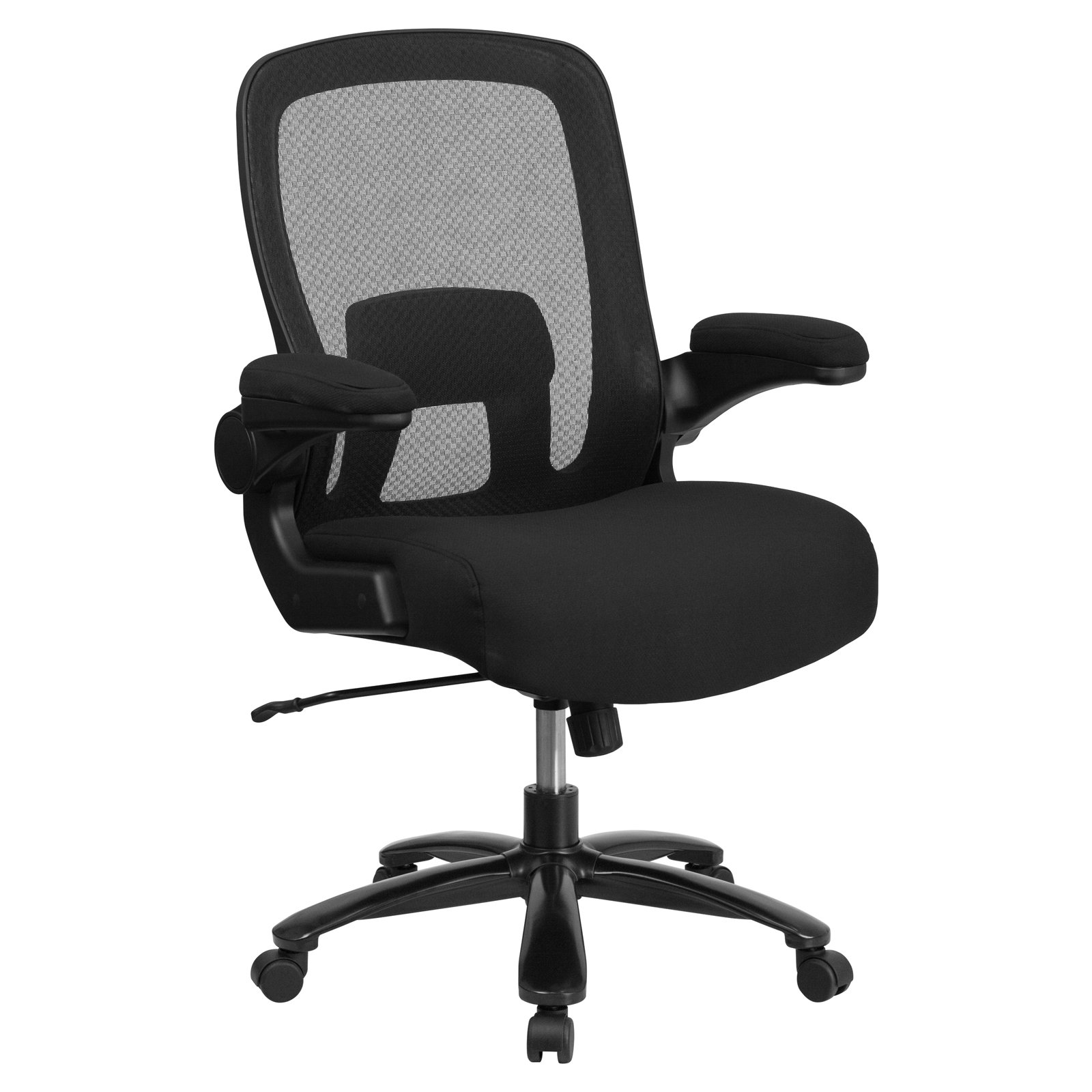 Flash Furniture HERCULES Series Mesh Executive Swivel Chair with Fabric Seat Adjustable Lumbar and Flip-Up Arms