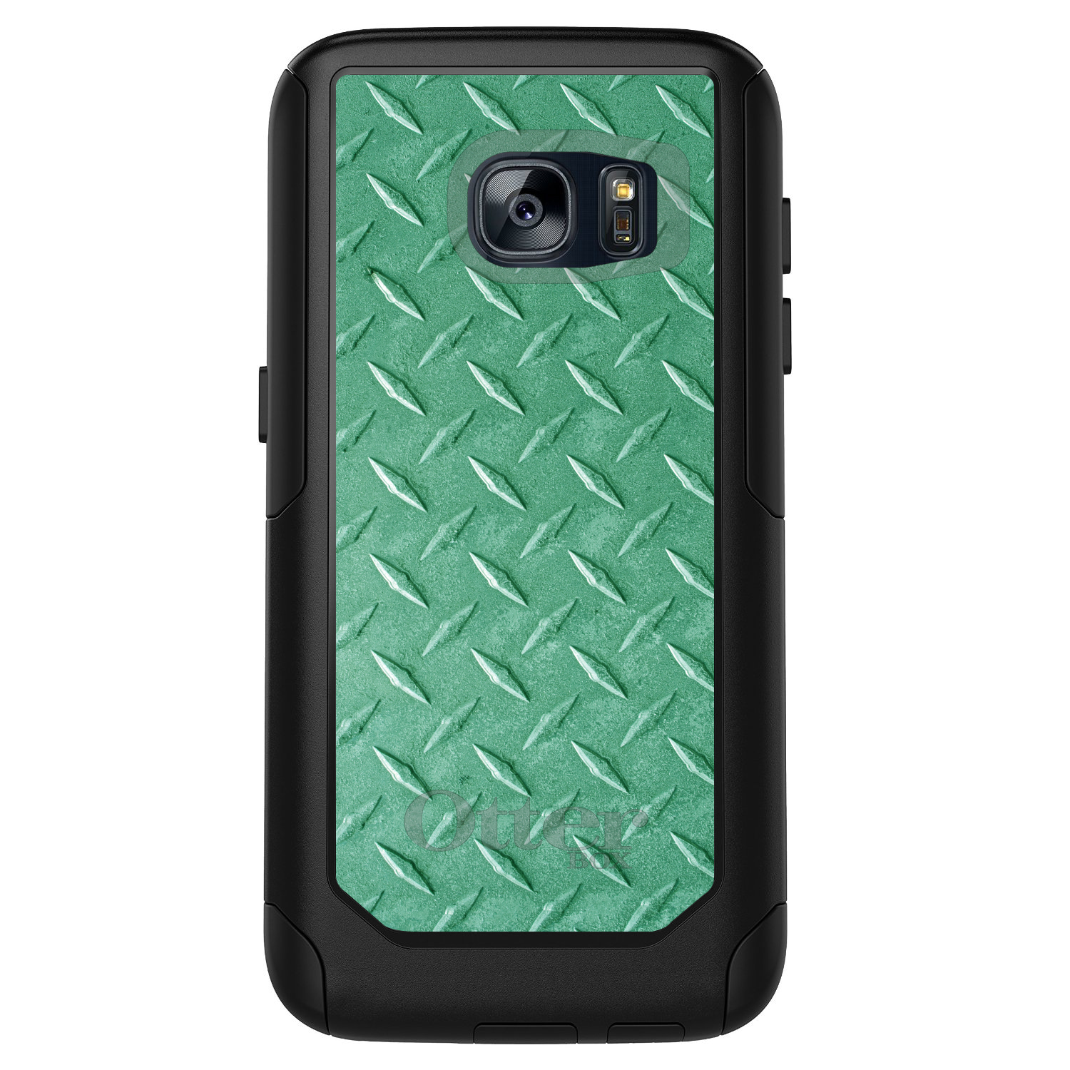 DistinctInk™ Custom Black OtterBox Commuter Series Case for Samsung Galaxy S7 - Green Diamond Plate Steel Print