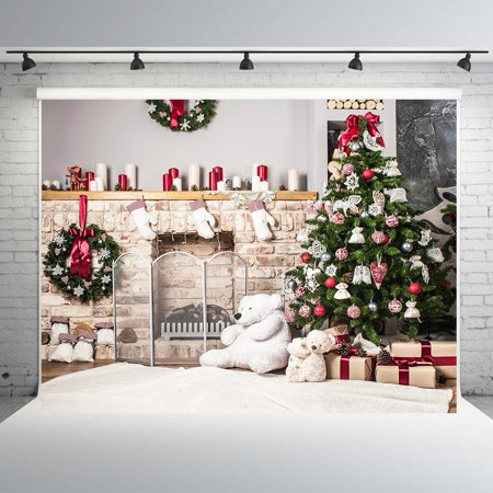 HelloDecor Polyster 7x5ft Christmas Tree White Brick Fireplace Photography Backdrops Backdrop for Baby Christmas Photo Studio Background - Christmas Backgrounds For Photography