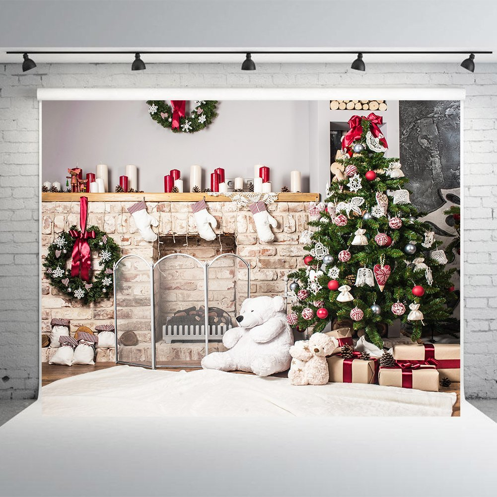 HelloDecor Polyster 7x5ft Christmas Tree White Brick Fireplace Photography Backdrops Backdrop for Baby Christmas Photo Studio Background