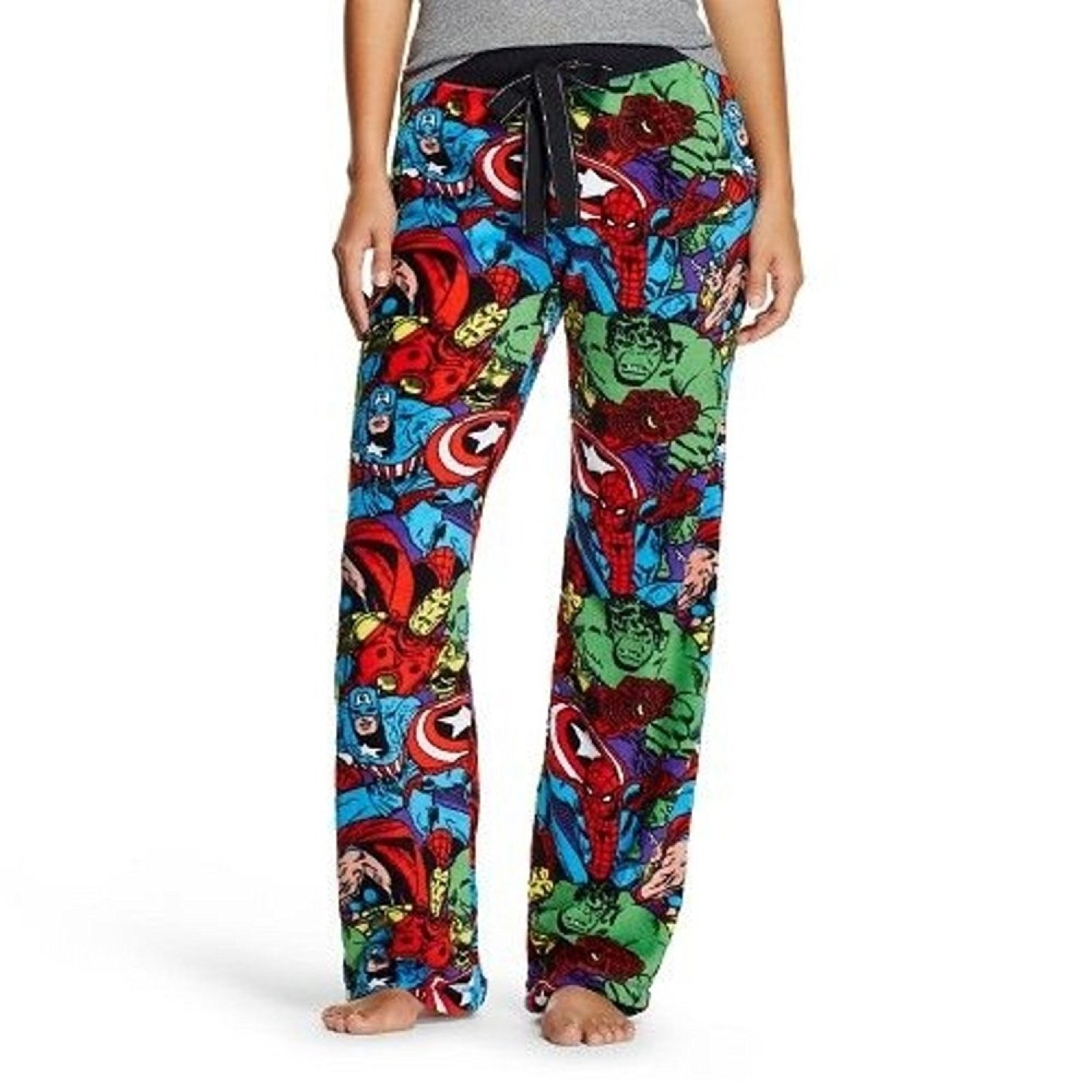 Marvel The Avengers Women's Plush Fleece Lounge Sleep Bottom Pants PJ, Captain America, Thor, The Hulk, Spiderman (Medium)
