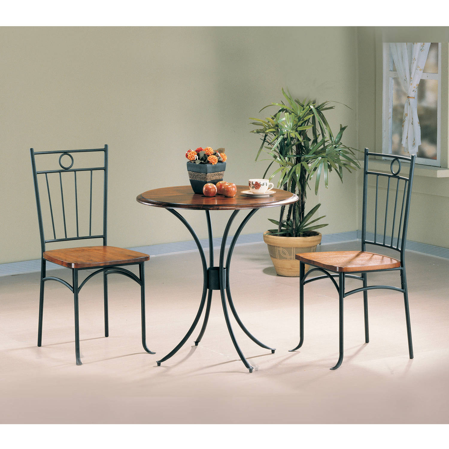 Coaster Company 3 PC Dinette in Honey and Black Metal