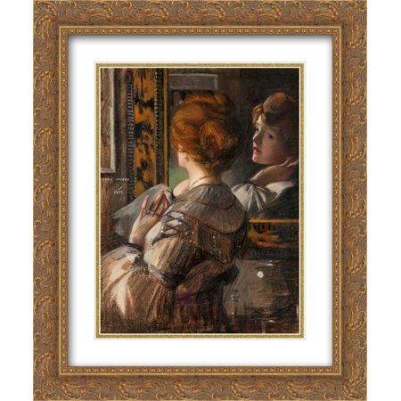 - George Henry 2x Matted 20x24 Gold Ornate Framed Art Print 'The Tortoiseshell Mirror'