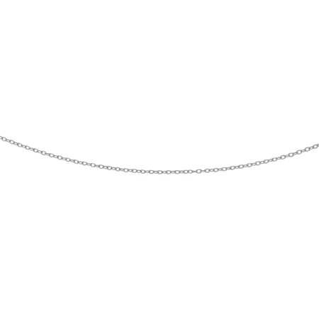 14K White Solid Gold 2.5mm Diamond Cut Oval Textured Link Cable Chain 16 Necklace Lobster Clasp