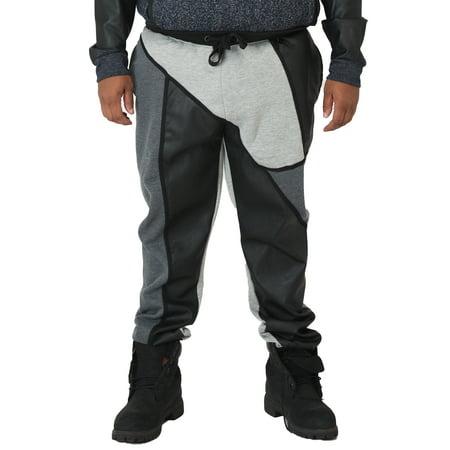 Vibes Big Men Fleece Jogger Pants With PU Patchwork Color Block Rib Cuff & Waist