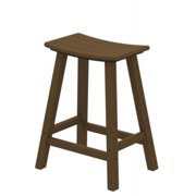 """24.75"""" Recycled Earth-Friendly Curved Outdoor Bar Stool - Teak"""