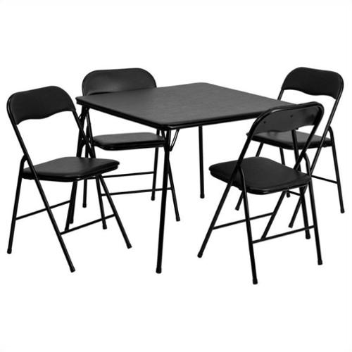 Flash Furniture 5 Piece Folding Card Dining Table and Chair Set in Black