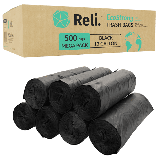 Reli. Eco-Friendly Trash Bags, 13 Gallon (500 Count)(Black) - Made from Recycled Content