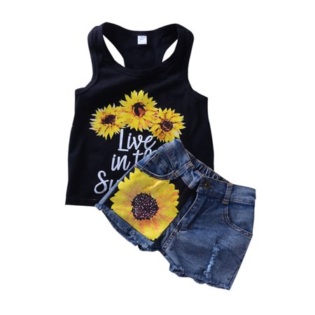Nicesee Girl Sunflower Tops+Shorts Jeans - Girls Clothes Clearance