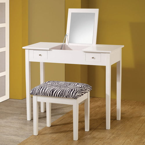 Coaster Lift-Top Vanity with Upholstered Stool, White Zebra by Coaster of America