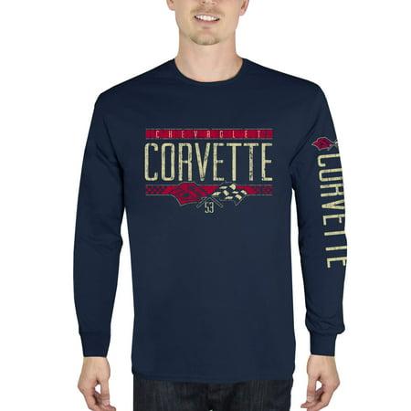Men's Chevrolet Corvette Flags Long Sleeve Graphic T Shirt Chevrolet Long Sleeve T-shirt