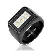 Mens Dad Word Black Band Square Signet Ring for Father Day Gift for Men Oxidized Stainless Steel