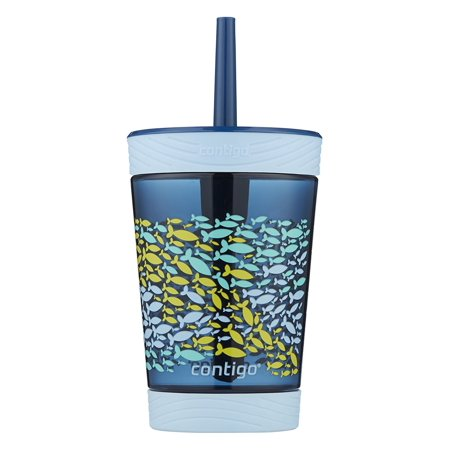Contigo Kids Spill-Proof Tumbler with Straw, 14oz, Nautical Blue - Cute Tumblers With Straws