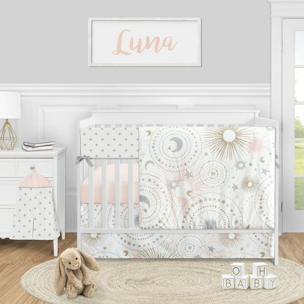 Moon Baby Girl Nursery Crib Bedding Set, Pink And Gold Star Bedding