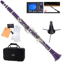 Mendini by Cecilio MCT-P Purple ABS Bb Clarinet w/1 Year Warranty, Stand, Tuner, 10 Reeds, Pocketbook, Mouthpiece, Case, B Flat