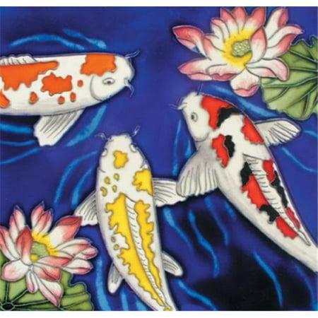 En Vogue B-222 Koi Fish - Decorative Ceramic Art Tile - 8 in. x 8 (8 Inch Ceramic Floor Tile)