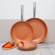 """Healthy Nonstick Ceramic Coated Frying Pan - 3 Pcs Eco Friendly Durable Fry Pan Cookware Set (8"""", 10"""" & 12"""" Pans) (Copper Stainless Steel)"""