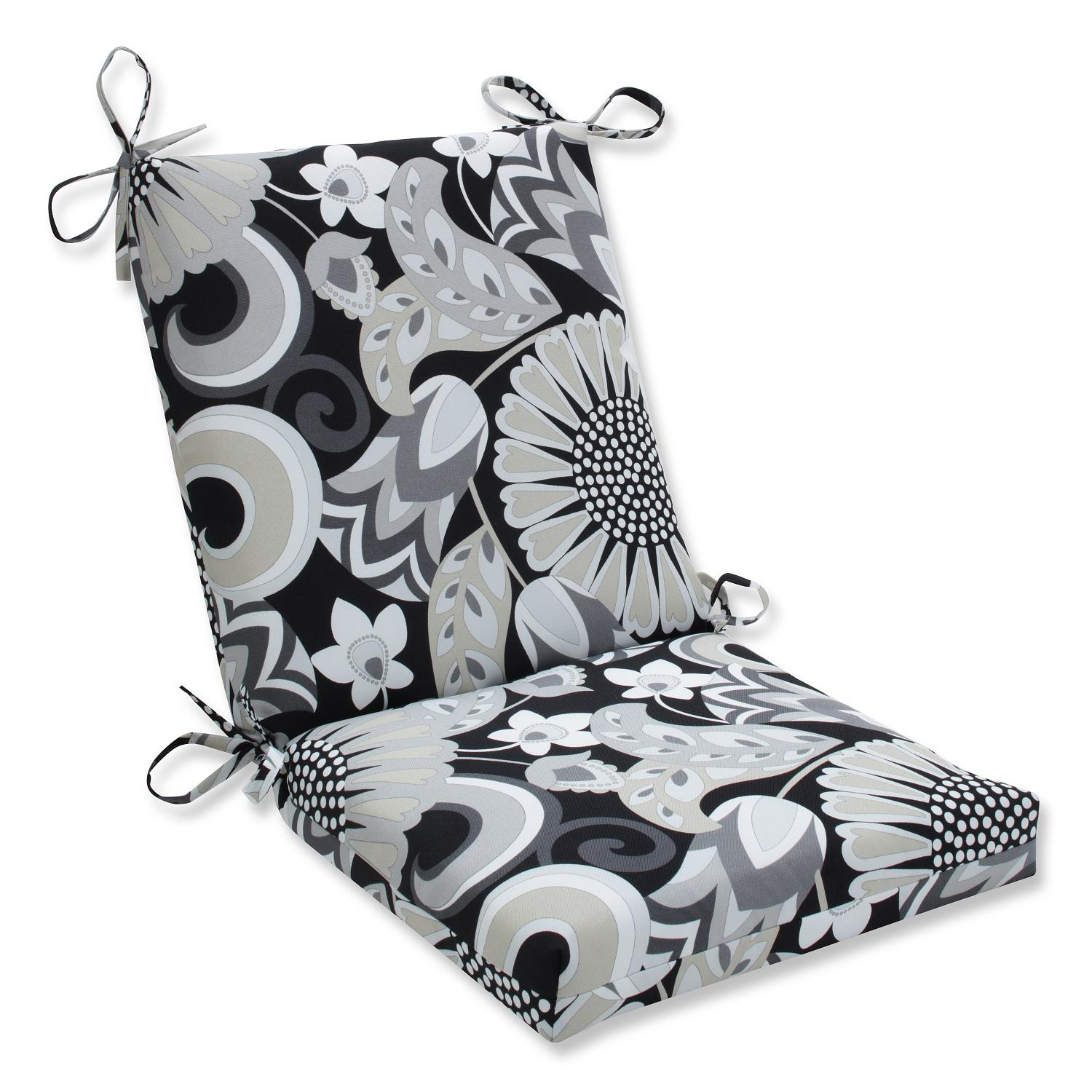 """Imperial Chic Floral In Onyx Black and Slate Gray Outdoor Patio Rounded Chair Cushions 36.5"""""""