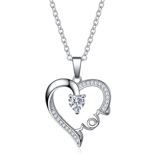 Mothers Day Gifts Sterling Silver Princess Diamond Twist Rope Double Heart Pendant Necklace for Women Girls