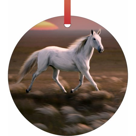 Horse Ornaments Christmas Watercolor White Horse Painting Round Shaped Flat Semigloss Aluminum Christmas Ornament Tree Decoration - Painting Christmas Ornaments