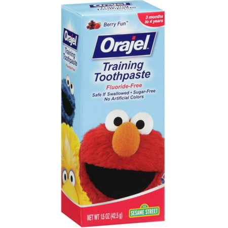 Orajel Fluoride Free Sesame Street Training Toothpaste Berry Fun  1 5 Oz