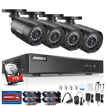 ANNKE 8CH 1080 Lite Video Security System DVR with 4Pcs 1080P Weatherproof  Cameras Night Vision-1TB HDD