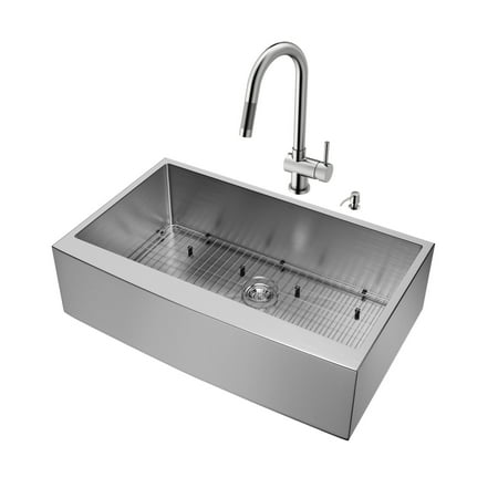 """Vigo VG15258 36"""" Single Basin Farmhouse Apron Front Kitchen Sink with Gramercy Stainless Steel Finish Faucet and Soap Dispenser - Sink Accessories Included"""